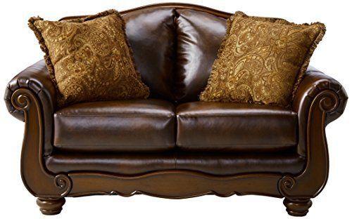 Brown Elegant Ashley Furniture Barcelona Sofa Loveseat Lounge Room Storage New