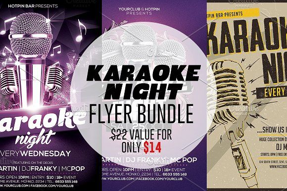 Karaoke Night Flyer Template Bundle Creativework  Templates