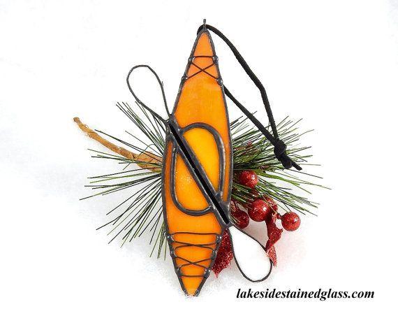 SUR commande  Kayak Noël ornement  Orange  par LakeSideStainedGlass