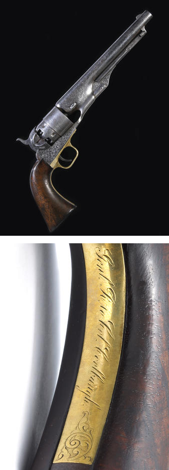 An historic Gustave Young deluxe engraved Colt Model 1860 Army percussion revolver with rare double presentation . Presented to General Rosencrans by the Colt company and by the General to Col. Coolbaugh.