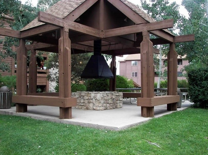 Idea for gazebo with fire pit gazebo pinterest for Outdoor gazebo plans with fireplace