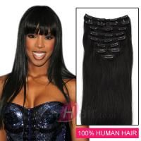 24 Inch 8pcs Straight Clip In Remy Human Hair Extensions (#1B Natural Black)