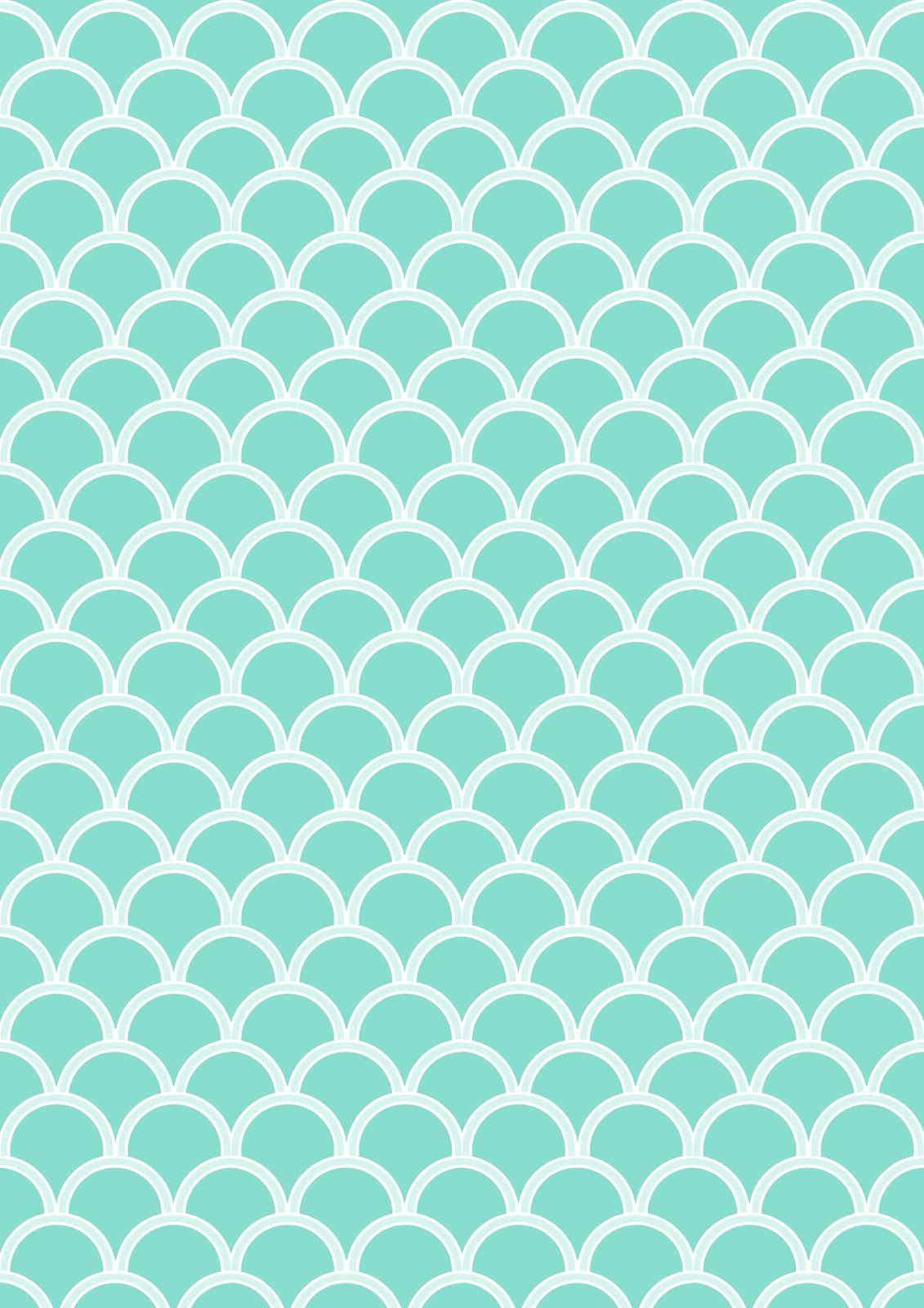 FREE printable turquoise pattern paper ^^ #scalloped ...