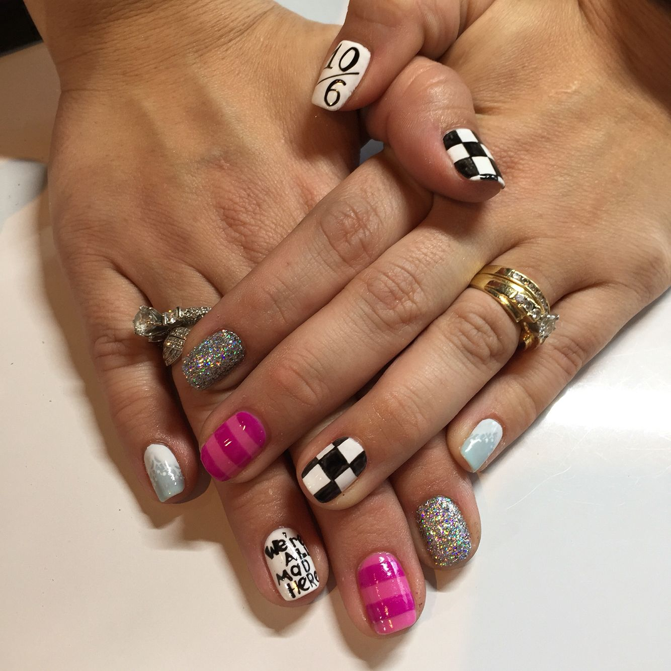 Wonderland nails, gel, mad hatter, checkered, Cheshire Cat, Alice ...