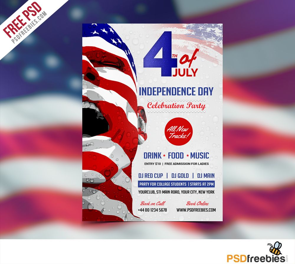 usa independence day flyer template free psd flyer template template and promotion. Black Bedroom Furniture Sets. Home Design Ideas