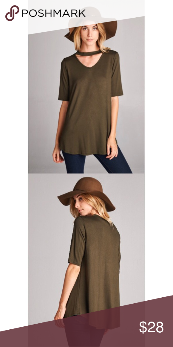 NWT ✨ Choker Neck Top Features: NWT, short sleeves, choker neck, viscose fabrics, made in the USA, runs true to size, cold wash-hang to dry Tops