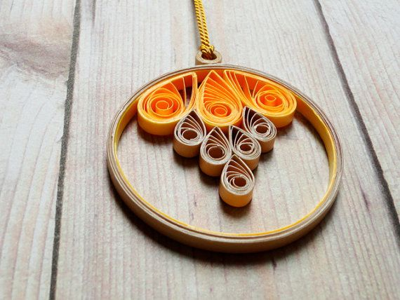Etsy Quilled Circle Paper Pendant Necklace by SimplyQuilledDesigns