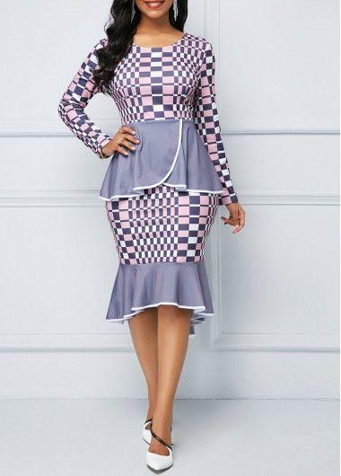56c6e37b179 Ruffle Trim Navy Blue Lace Panel Sheath Dress