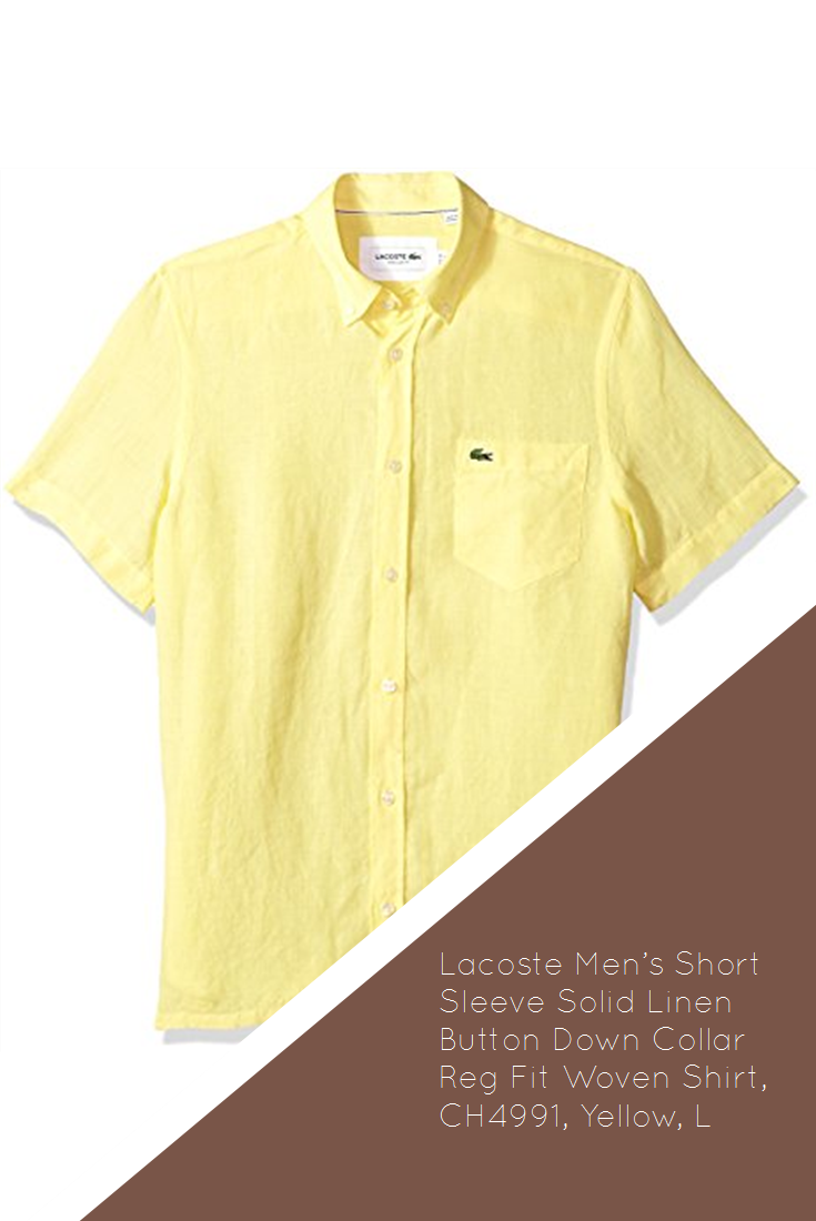 a3659dfbd Lacoste Men s Short Sleeve Solid Linen Button Down Collar Reg Fit Woven  Shirt