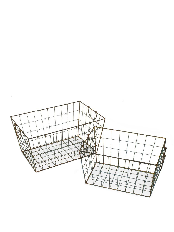 BATHROOM UPDATE   Wire Baskets, Set of 2, $39