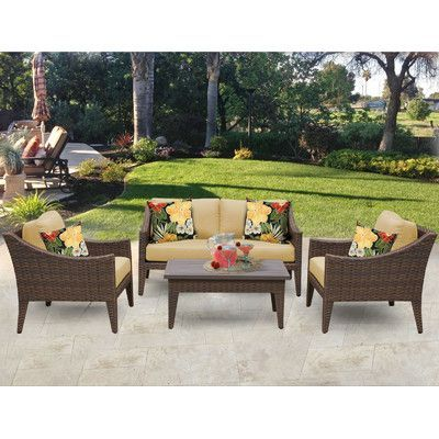 Tk Classics Manhattan 5 Piece Seating Group With Cushion Fabric