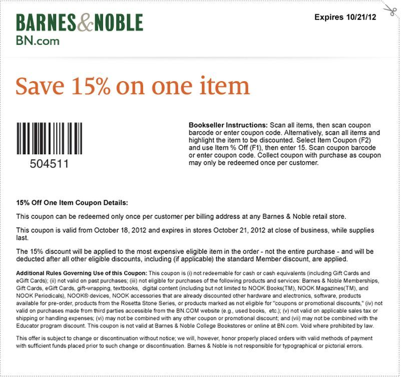 barnes and noble 15 off item printable coupon