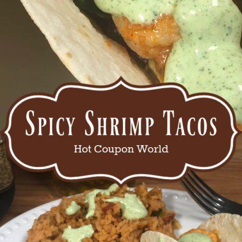 Spicy Shrimp Tacos with Avocado Salsa and Cilantro Cream Sauce #cilantrosauce
