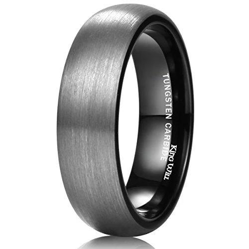 6mm Tungsten Carbide Black Enamel Domed Wedding Band Ring for Men Or Ladies