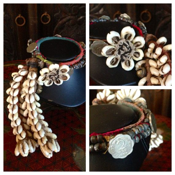 FREE US SHIP Ethnic Tribal Textile Cowry Shells African, Gypsy, Bohemian, India Exotic Banjara, Curtain Tiebacks, Tassels, Home Decor,