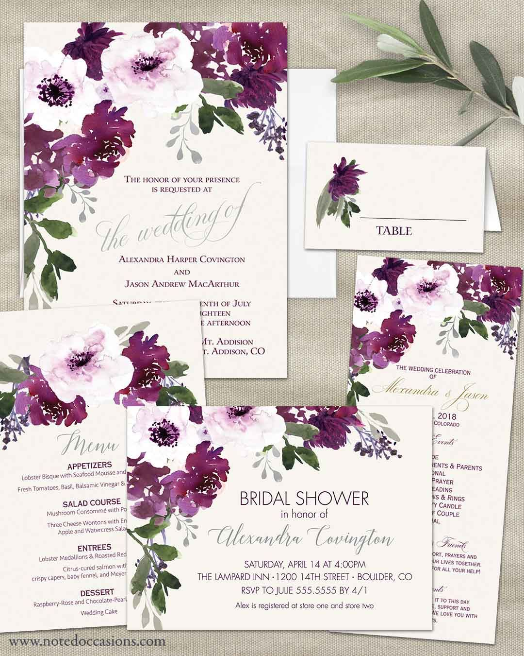 Plum Floral Wedding Invitations Watercolor Greenery With Purple Flowers Boho Chic Wedding Invitations Watercolor Wedding Invitations Plum Wedding Invitations