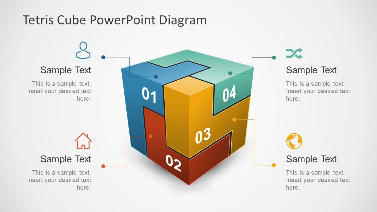 D Tetris Cube Powerpoint Diagram  Diagram Cube And Template