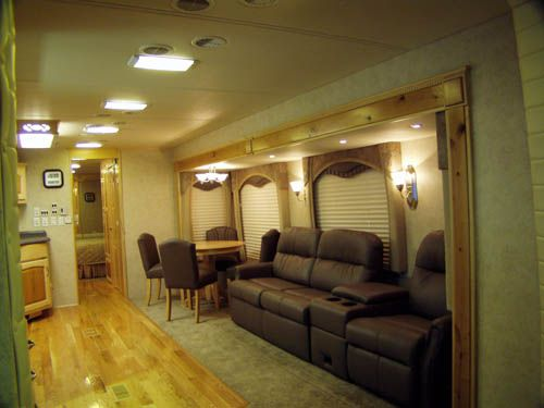 Powerhouse Coach Motorhome | Custom Coach Ultra Leather Theater Seating  With Power Reclineru0026 Hide A