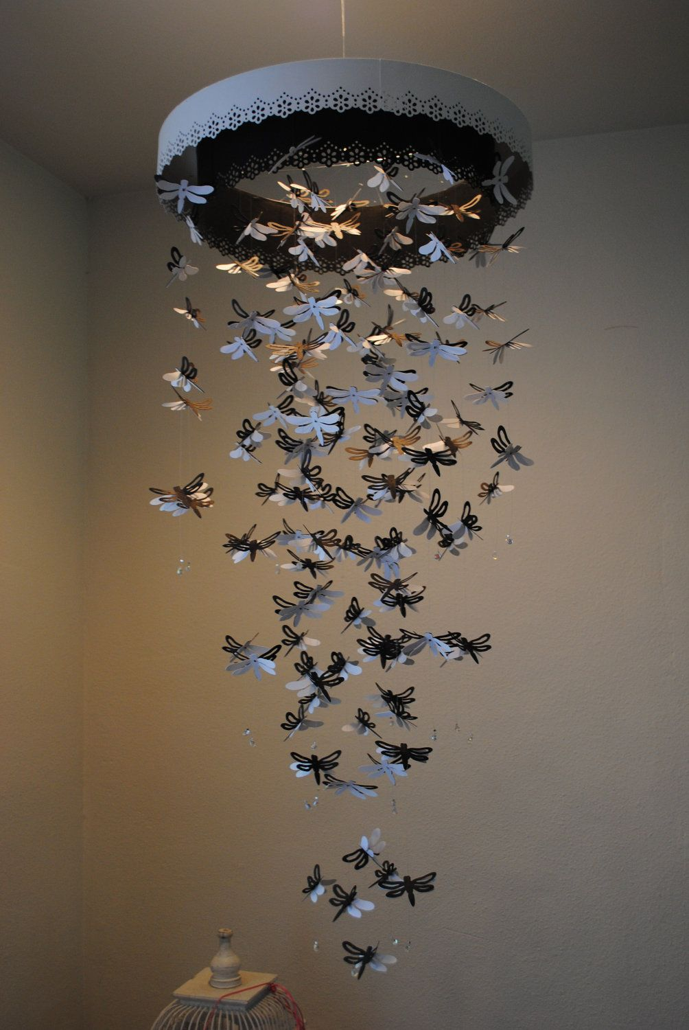 Paper Lace Chandelier Dragonfly  Mobile  black by DragonOnTheFly, $110.00