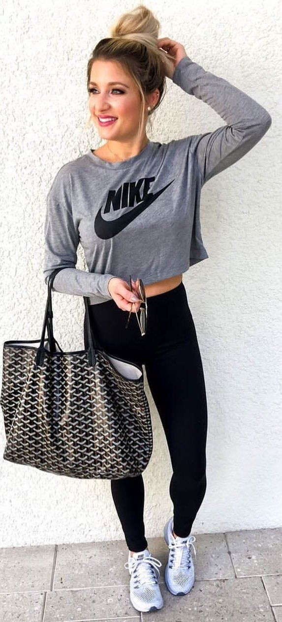87cfd408c62  fall  outfits women s gray and black Nike sweatshirt and black leggings  outfit