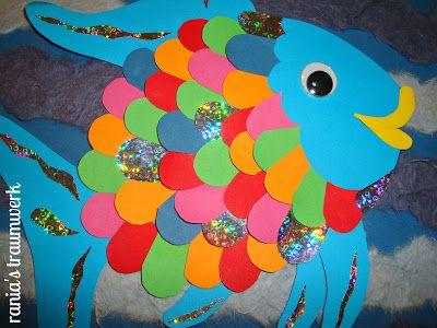 regenbogenfisch aus papierschnipseln reebouf sch pinterest regenbogenfisch basteln mit. Black Bedroom Furniture Sets. Home Design Ideas