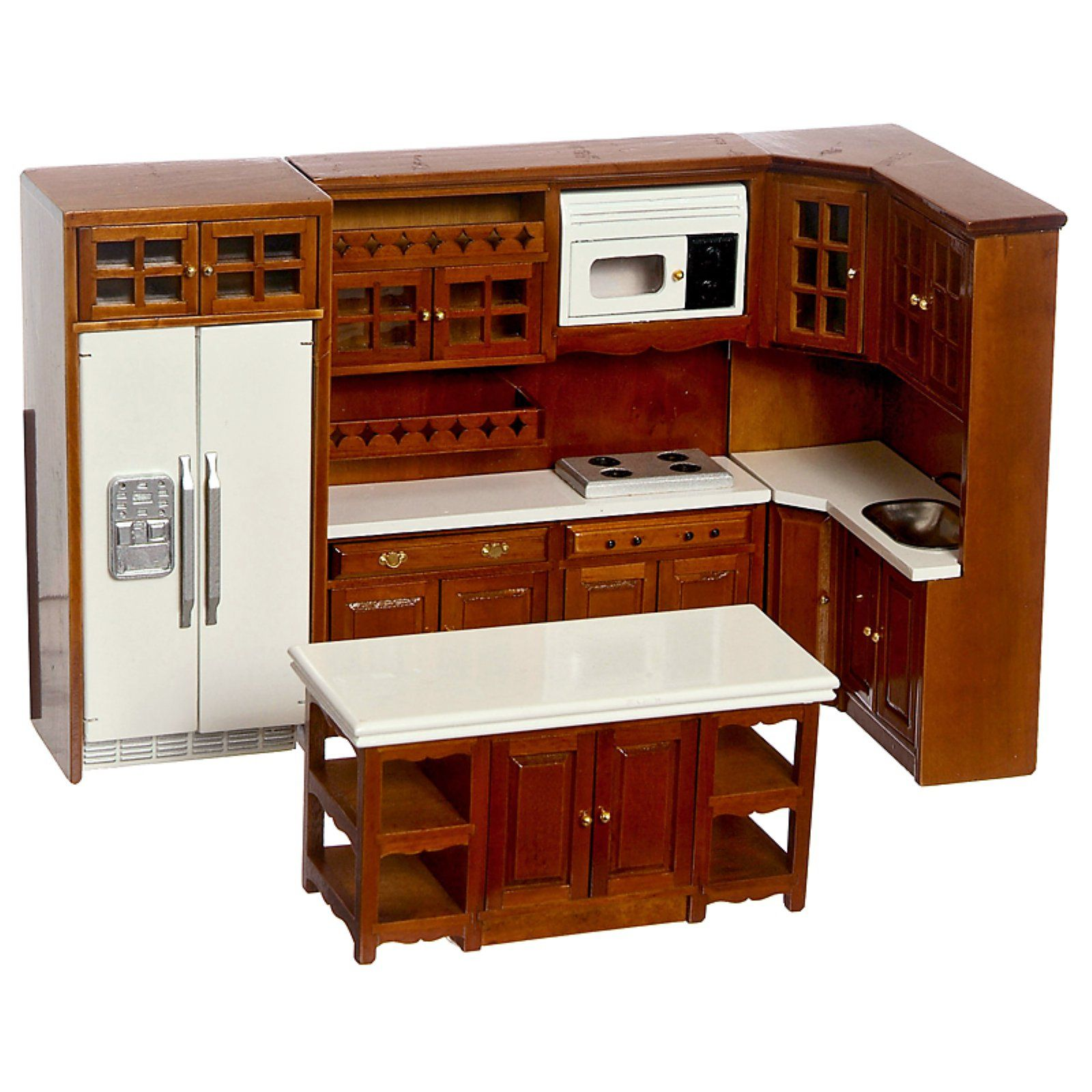 Walnut Kitchen Dollhouse Miniature Set