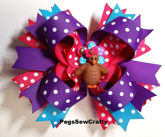 SALE   Boutique Hair Bow Turkey Hair Bow by PegsSewCrafty on Etsy