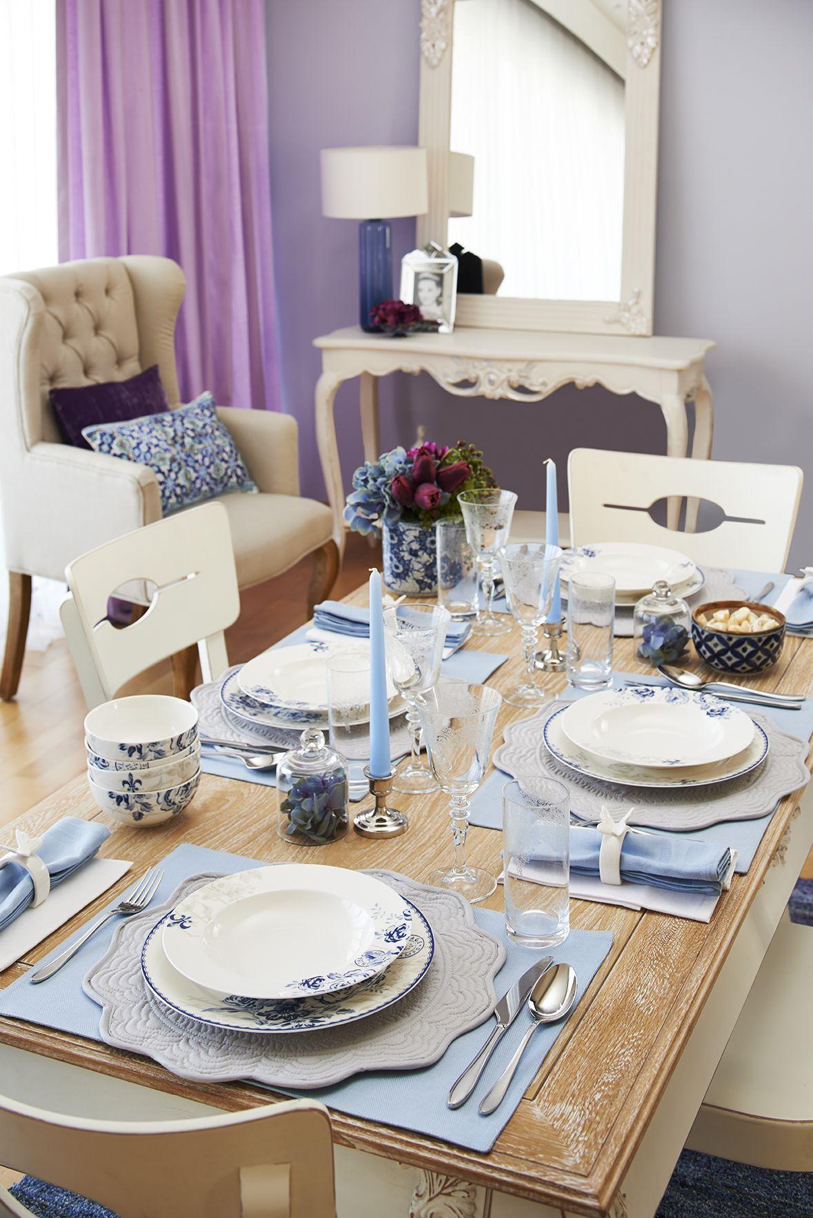 Vintage Blue yemek takımı / Vintage Blue dinnerware set #bernardo ...