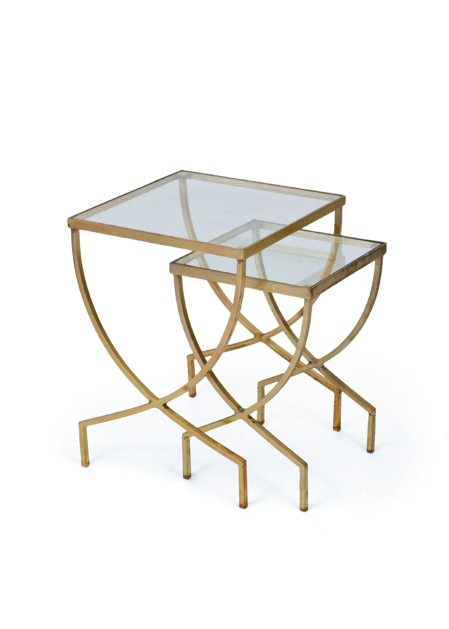 Harvey nesting tables in brushed brass with glass top set of 2 harvey nesting tables in brushed brass with glass top set of 2 watchthetrailerfo