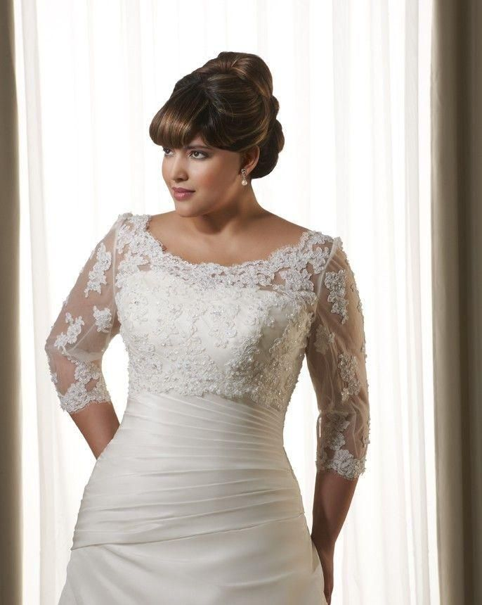 Custom Made Bridal Plus Size Wedding Boleros With Sleeves Crystals ...