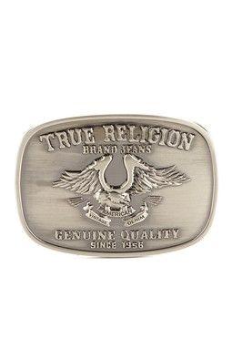 True Religion Unisex Antique Nickel Horseshoe Eagle Belt Buckle