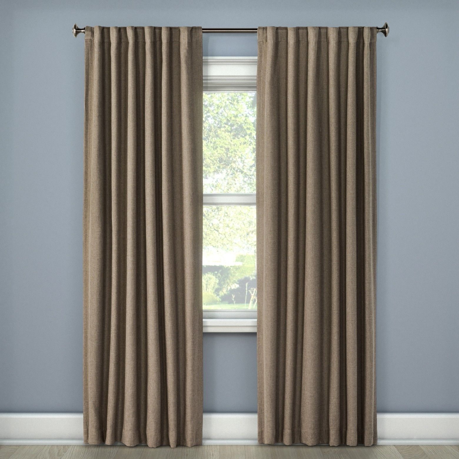 Linen Look Lightblocking Curtain Panel Stone 50 X84 Threshold Nwop