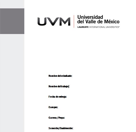 Universidad del Valle de México   Plantilla - Portada de trabajos ...