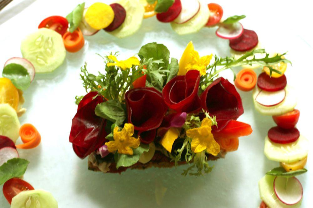 Tempeh Toast with salad art at Fresh, Taksu's raw and vegan restaurant.