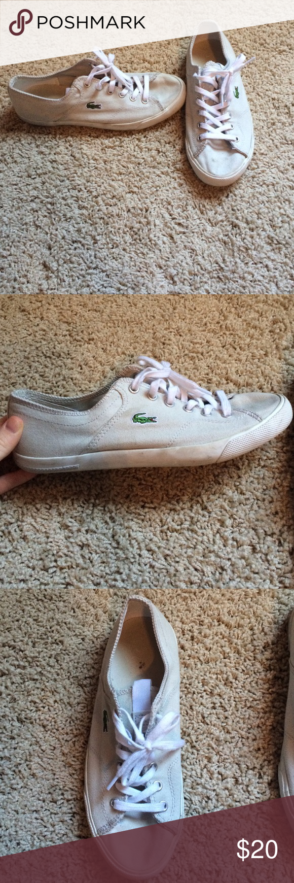 Lacoste sneakers Grey Lacoste sneakers, used condition but look very good! Just wear on the sole of the shoe Lacoste Shoes Sneakers