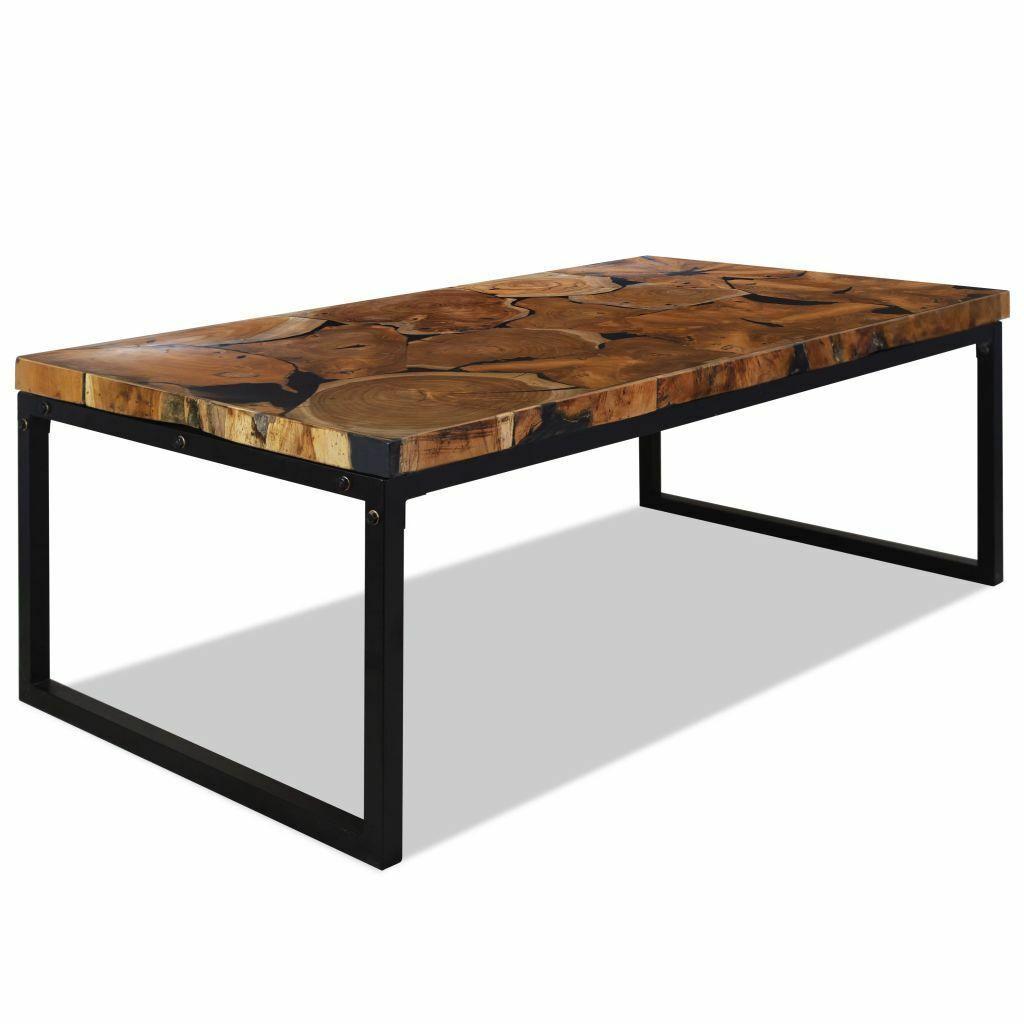 244551 Table Basse Vidaxl En Bois De Teck Et Resine 110x60x40 Cm