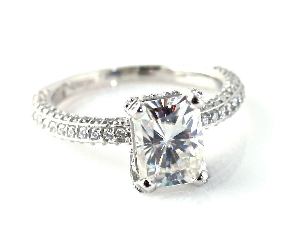 Radiant moissanite engagement ring pave diamond solitaire custom