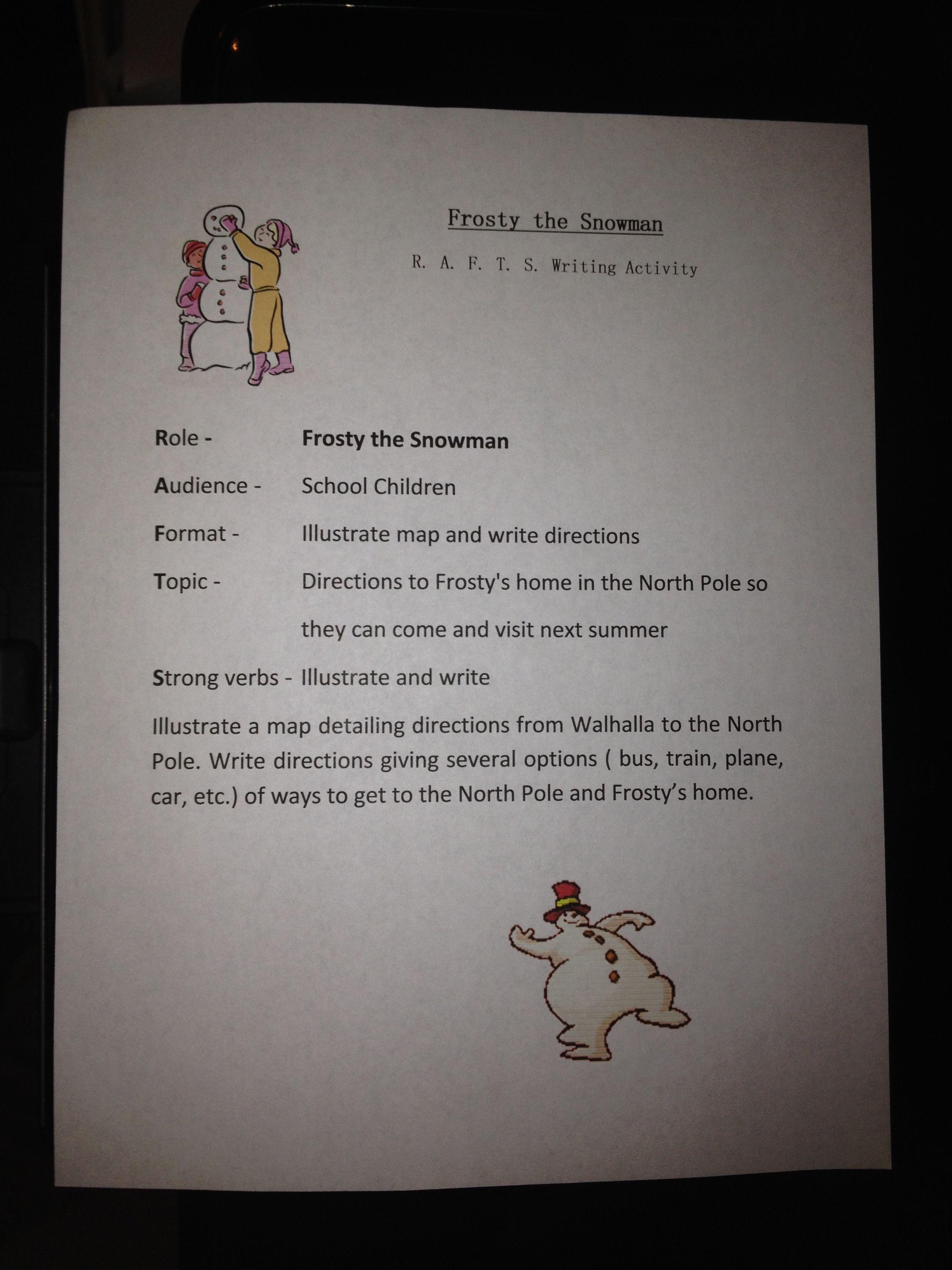 Esol Middle School Holiday Writing Idea Frosty R A F T S Writing Activities Holiday Writing Middle School Esl [ 3264 x 2448 Pixel ]