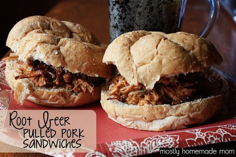 Root Beer Pulled Pork Sandwiches {Crockpot} - perfect for Memorial Day! www.mostlyhomemademom.com #pulledpork #crockpot #cookout