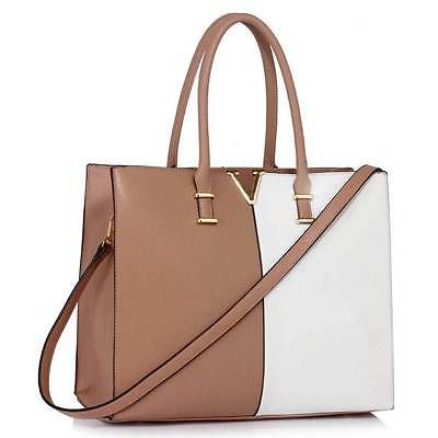 Womens Fashion Tote Shoulder Bags Ladies Large Designer Faux Leather New  Handbag (Nude  White ( Partner Link) ece236fbfb