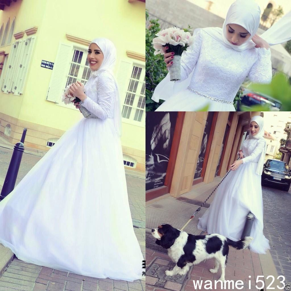 Awesome amazing muslim wedding dress high neck tulle chiffon with