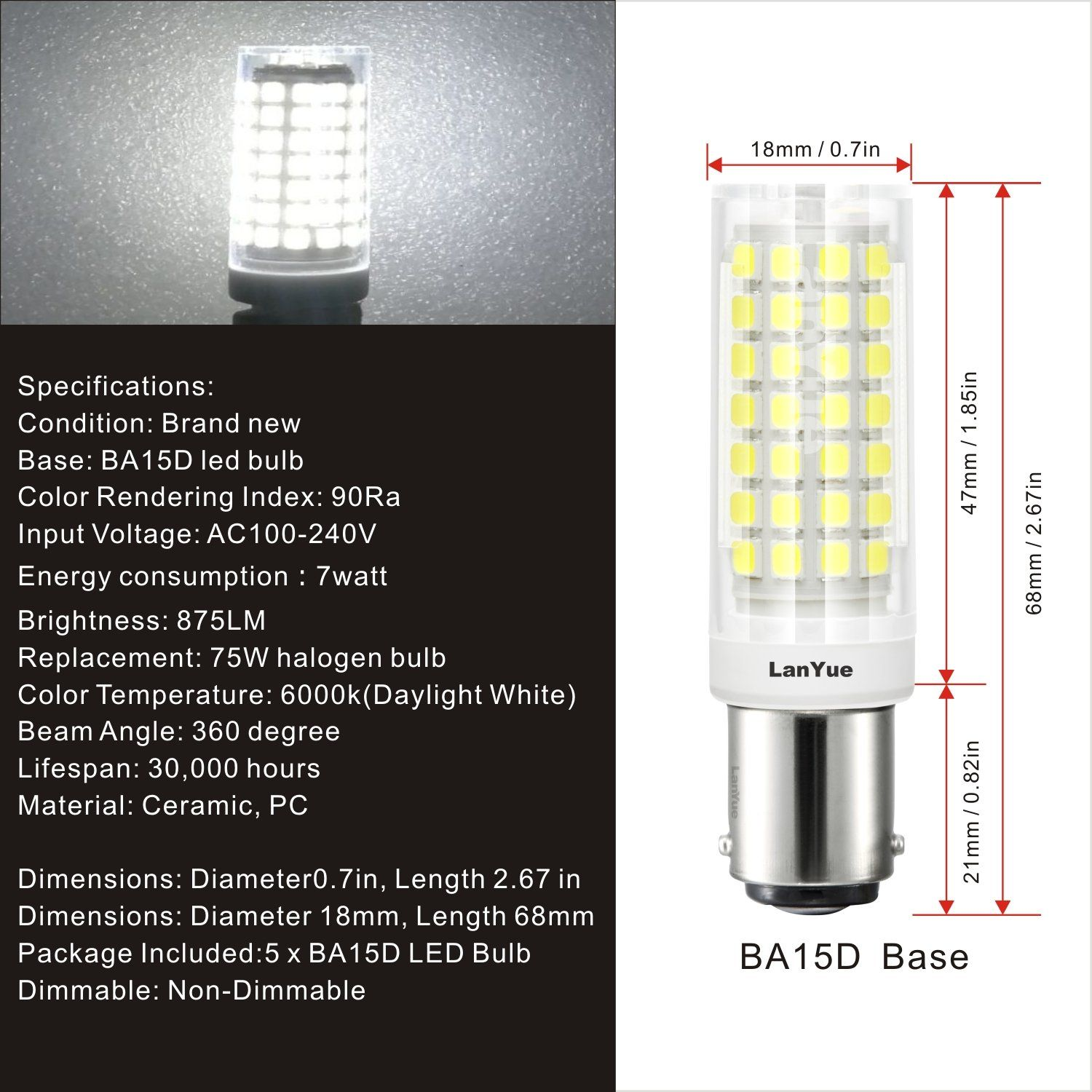 Ba15d Led Light Bulb 120v 6w 60w Equivalent Daylight White Ba15d Double Contact Bayonet Base 60w 75w Halogen Bulb Replacement For Sewi In 2020 Light Bulb Led Bulb Bulb