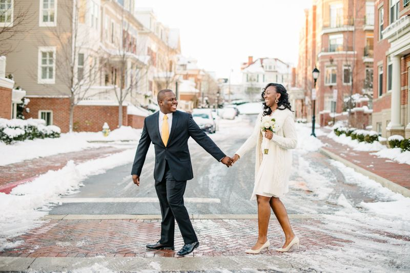 Sweet And Simple Winter Courthouse Wedding