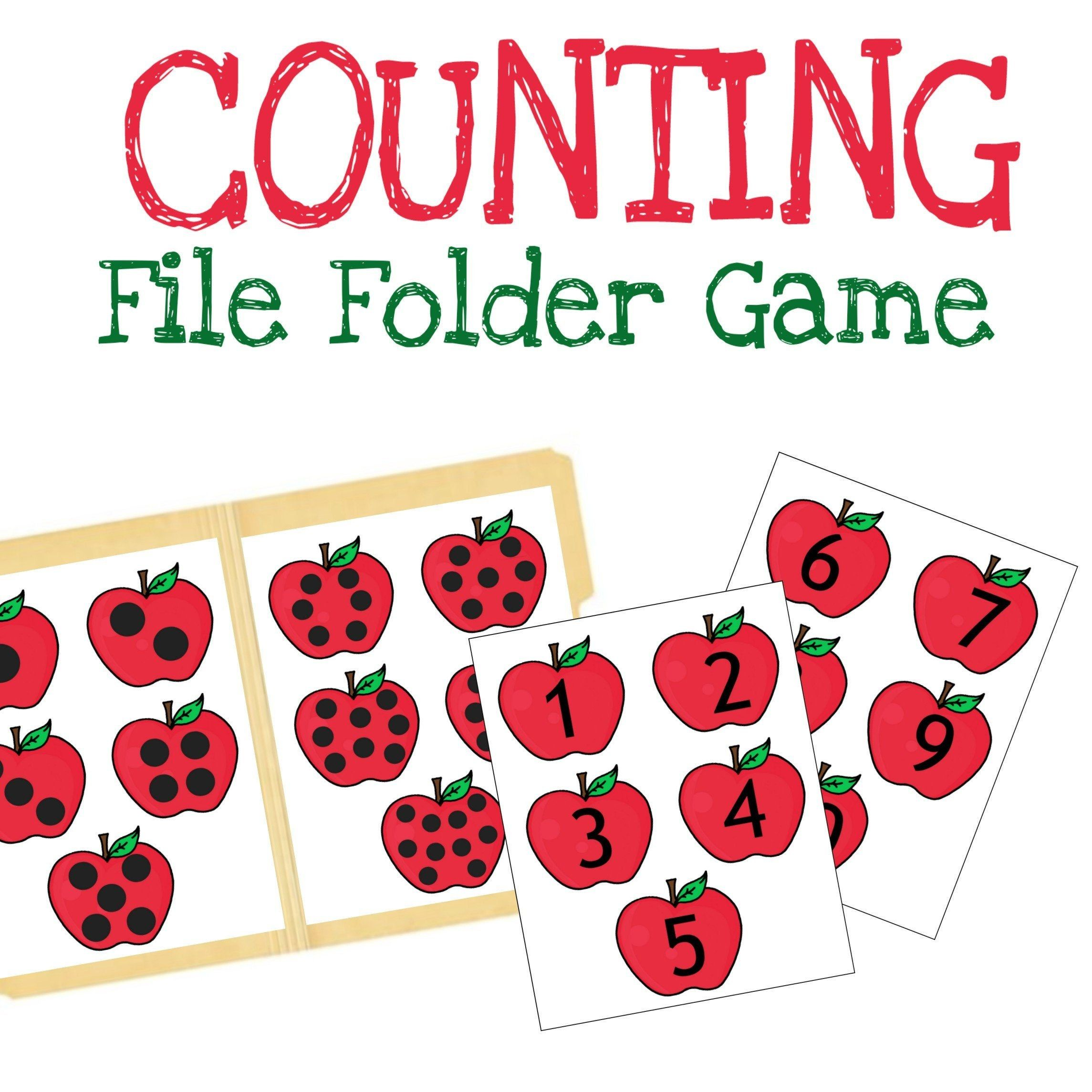 Counting And Matching File Folder Games Apple Printable