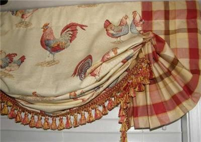 Custom French Country Balloon VALANCE Curtain Red Gold Rooster - French french country fabrics