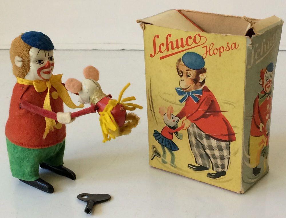 Vintage Schuco Clown Hopsa Wind Up Toy