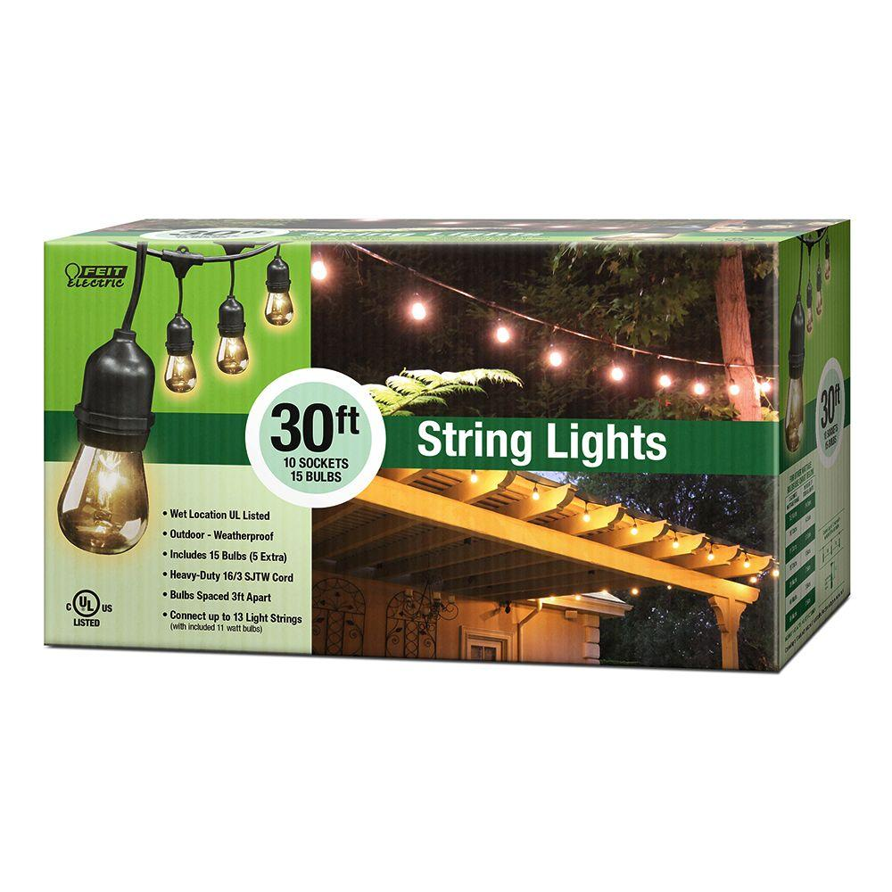 Feit Electric String Lights Best 30 Ft10Socket Incandescent String Light Set Case Of 4  Outdoor Design Decoration