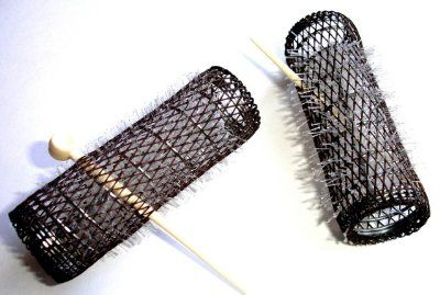 "2 Pack HAIR STYLING BRUSH ROLLERS  PINS Hair Curlers 7/8"" x 3"" Bristles (12 Rollers):Amazon:Beauty"