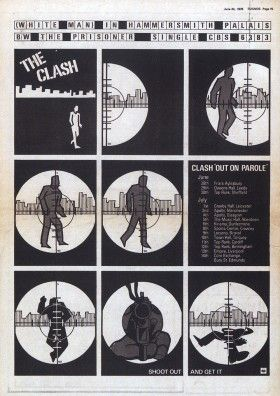 Tour Poster From The Clash S Out On Parole Uk Tour The Clash Punk Poster Punk Bands Posters