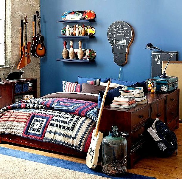 Full Accessories Teen Boys Bedroom Design With Decorative Furniture